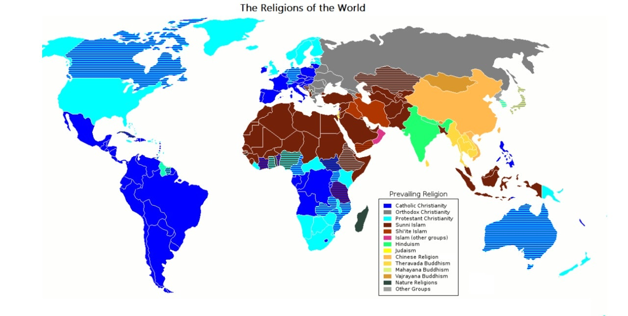 prevailing world religions map