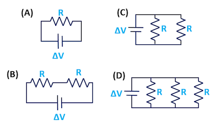 AP Physics 1 & 2 - Which Circuit Draws the Least Current?