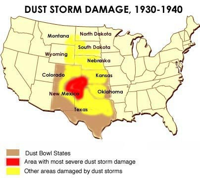 Sat Subject Test In Us History The Dust Bowl - Us-history-map-test